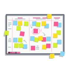 process planning board with color sticky notes vector image vector image