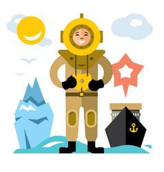 underwater diving antique scuba diver vector image