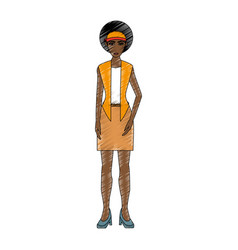 Color pencil cartoon full body woman brunette with vector