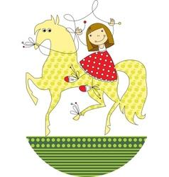 girl riding a horse vector image