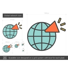 Global network line icon vector image