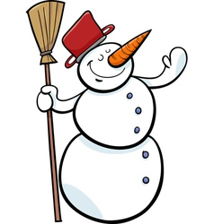happy snowman cartoon vector image vector image