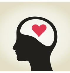 Heart in a head vector image