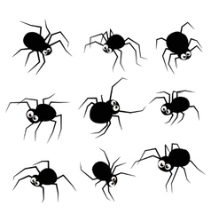 Black silhouette spider icons set isolated on vector image vector image