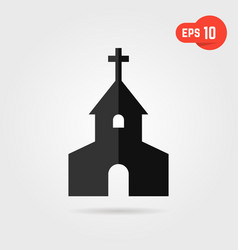 black simple church with shadow vector image vector image