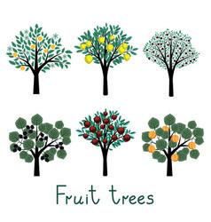 Fruit trees set vector image