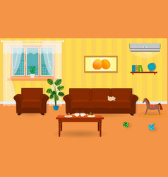 living room interior in bright colors including a vector image