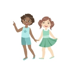 Couple of kids walking together holding hands vector