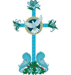 cross with flowers and pigeon vector image