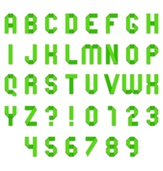 Green Folded Paper Font vector image