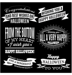Set of labels for halloween holiday vector