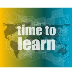 touch screen with time to learn vector image
