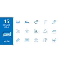 15 music icons vector image