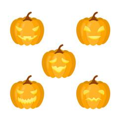 A set of pumpkins for halloween vector