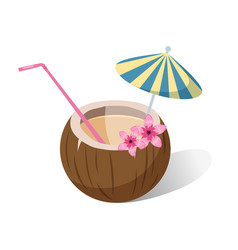 aloha tropical coconut cocktail with colorful vector image