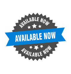available now sign now blue-black vector image