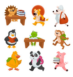 Baby animals carrying books and studying at school vector