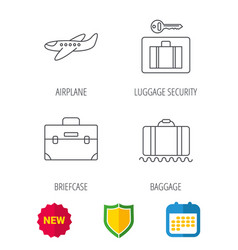baggage luggage security and airplane icons vector image