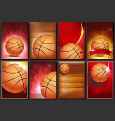 Basketball poster set empty template for vector