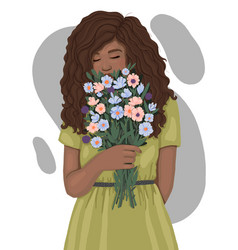 Beautiful african woman with a bouquet flowers vector