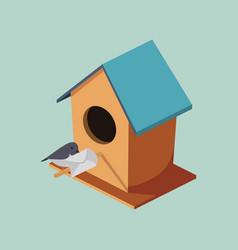 Birdhouse with post bird isometric vector