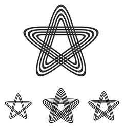 Black line pentagram logo design set vector