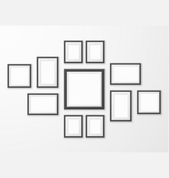 black picture frames realistic empty image frame vector image