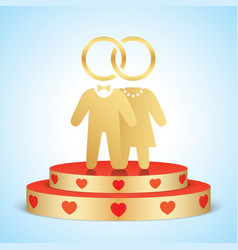 Bride and groom standing on a golden stage vector