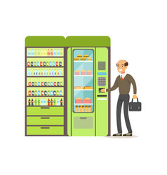 Businessman using automatic vending machine with vector