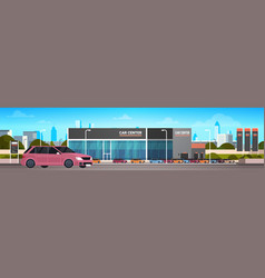 Car dealer center showroom with new vechicle vector