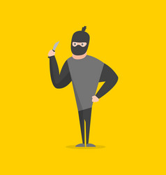 Cartoon bandit character on a yellow background vector