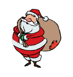 Cartoon santa claus with big bag gifts for your vector