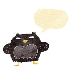 cartoon suspicious owl with speech bubble vector image
