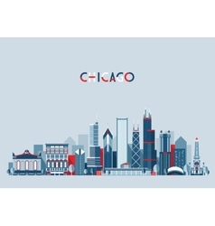 Chicago united states city skyline trendy vector