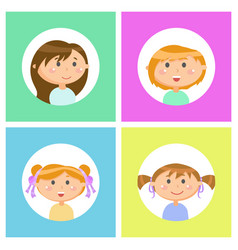 Children girls with face expressions isolated set vector