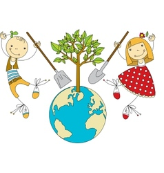 Children Plant for Planet vector