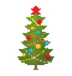 Christmas tree pixel art new year 8bit vector