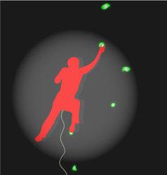 Climber climbing competitions illuminated spotligh vector image