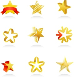 collection of gold star icons vector image