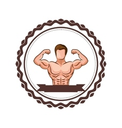 Colorful border with half body muscle man and vector