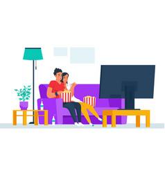 couple watching tv cartoon boy and girl vector image