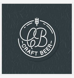 craft beer logo round linear c and b letters vector image