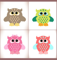 cute owls set vector image