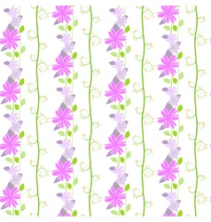 Cute seamless pattern with the floral and leaves vector image