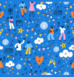 dance party people dancing pattern vector image