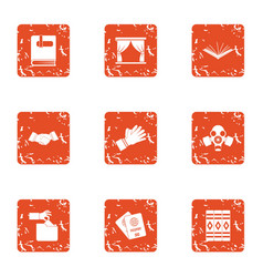 Diplomacy icons set grunge style vector