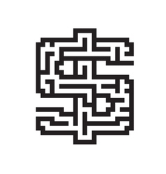 Dollar business flat black maze vector image vector image