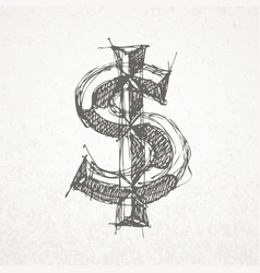 Dollar sign hand drawn sketch on grunge vector