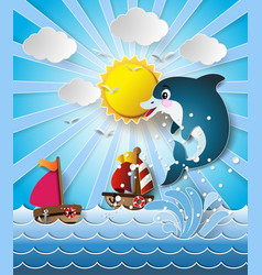 Dolphins in sea on sunlight vector