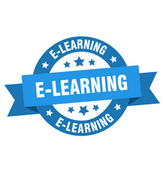 e-learning ribbon e-learning round blue sign vector image